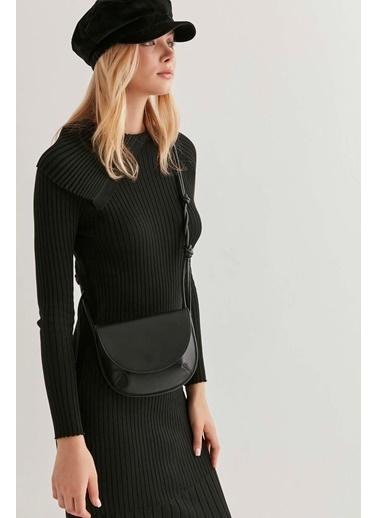 Vitrin Asimetrik Yaka Triko Elbise Siyah